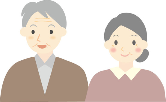 Senior couple smiling face