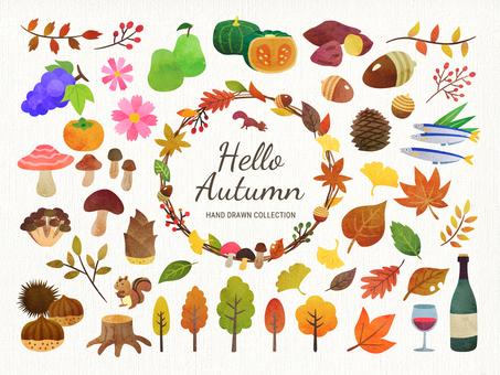 Hand drawn style autumn illustration set