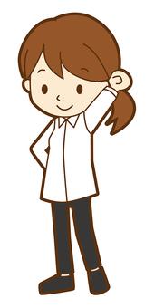 字節 - 女孩 - 白色的衣服