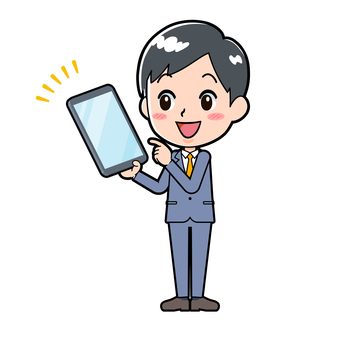 Young man in suit with tablet points