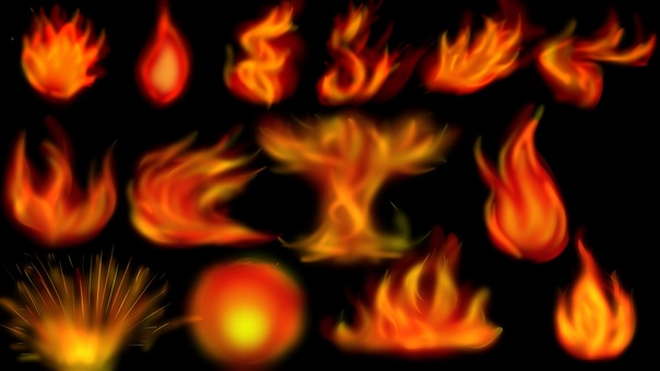 Various flame patterns