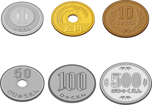 6 kinds of coins Simple Naname