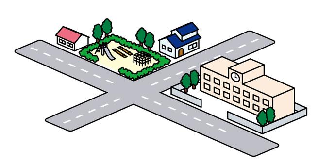街道材料:學校和公園