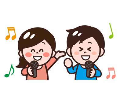 노래방에서 노래하는 사람 (남성 · 여성)