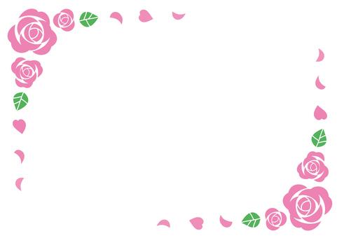 Pink rose frame (sideways)