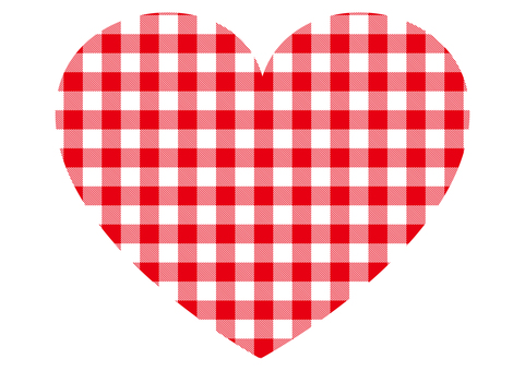 Red gingham check heart
