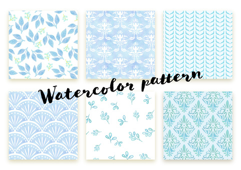 Pattern set 035 watercolor (blue)