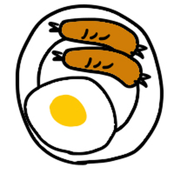 Fried eggs and wiener