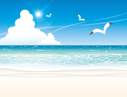 夏の海のビーチと青い空