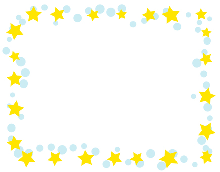 Star and polka dots frame - blue