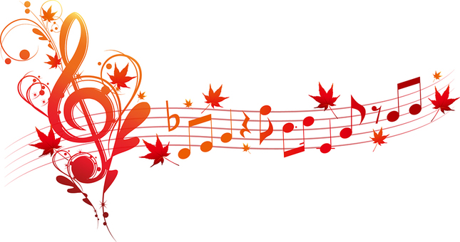Musical notes with toka sign and autumn leaves