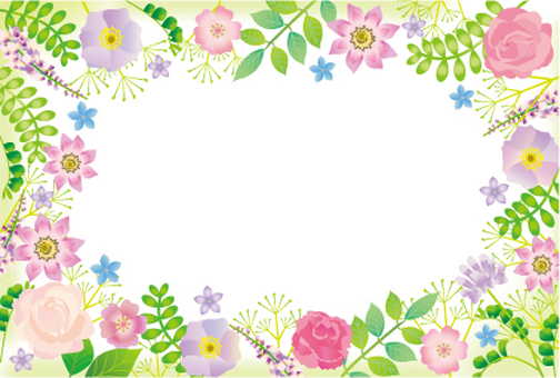Plants and Flower Frame Purple