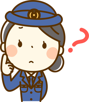 A police officer who tilts his head