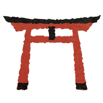 Watercolor style shrine torii