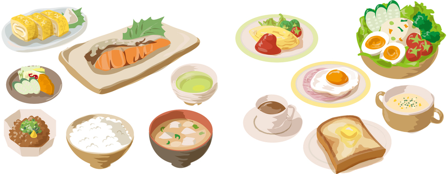 Breakfast without Japanese style Western style line