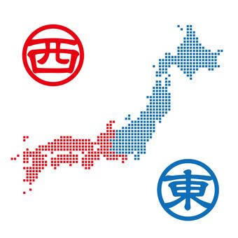 Japan Map East-West Dot