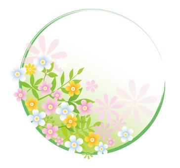 봄 꽃의 원형 프레임