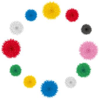 リアルなガーベラの円フレーム素材