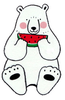 Shirokuma, eat watermelon.