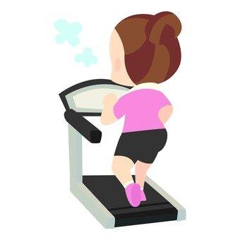 Diet - a woman riding a running machine