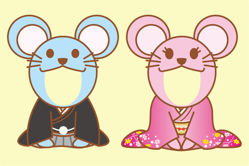 Mouse face wearing kimono for New Year's card