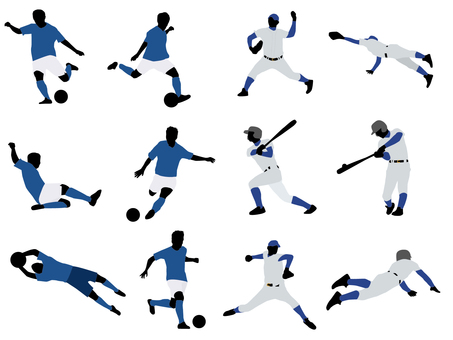 Soccer / baseball silhouette set