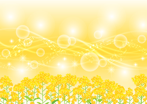 Rape blossoms and staves and glitter streamline background