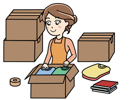 A woman packing for moving