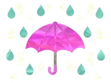 Pink umbrella with glitter rain drops