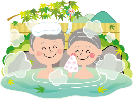 Summer natural hot spring fresh green maple elderly couple open-air bath rock