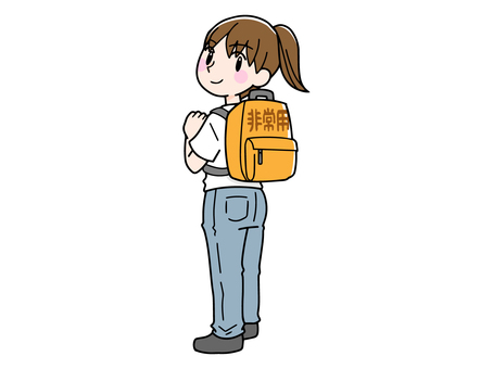 Woman carrying a disaster prevention bag