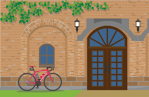 Brick building and road bike