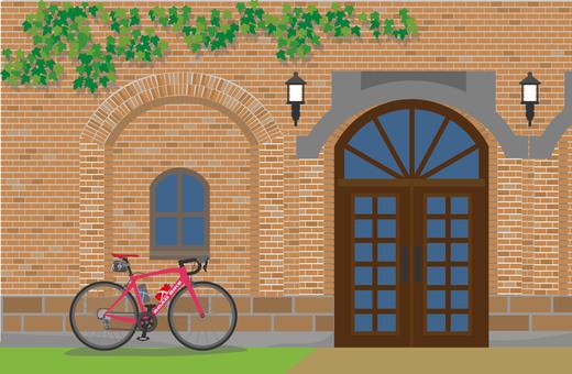 Brick building and road bike