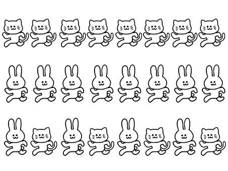 Rabbit and Cat Line (Simple Animal)