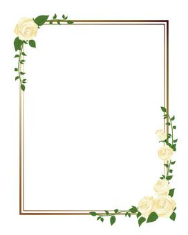 White rose's diagonal frame · Decorative frame length 01