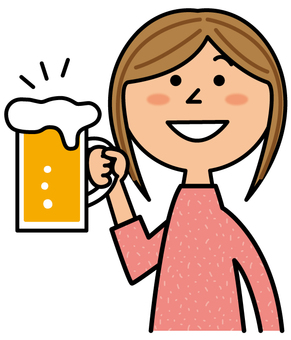A woman drinking beer