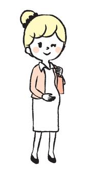 Working pregnant woman hand-drawn illustration