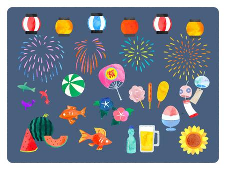 夏天和节日水彩插图