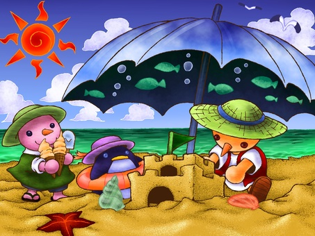 Summer vacation on sandy beach