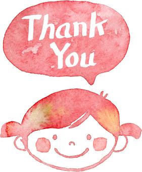 Thankyou girl with speech bubble