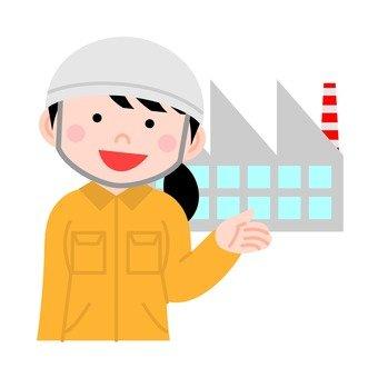 공장에서 일하는 여성
