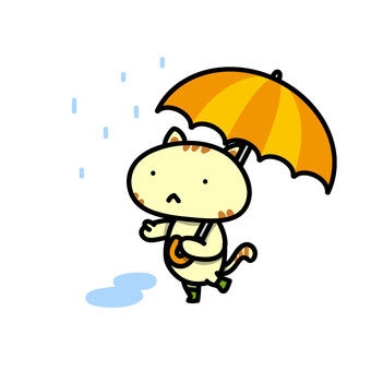 Illustration of a cat walking with pointing at an umbrella