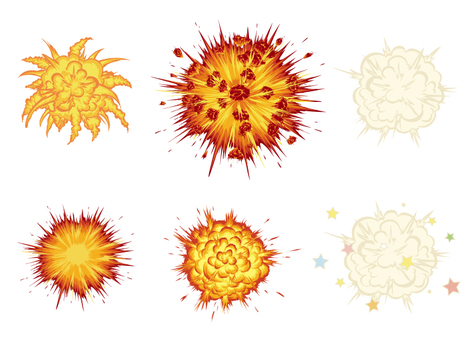 Explosion illustration set material