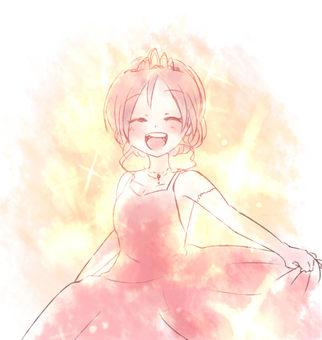 A woman looking happy to wear a dress