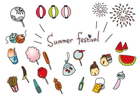 手描きイラスト素材(夏祭り)カラー