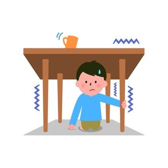 Evacuate under the table