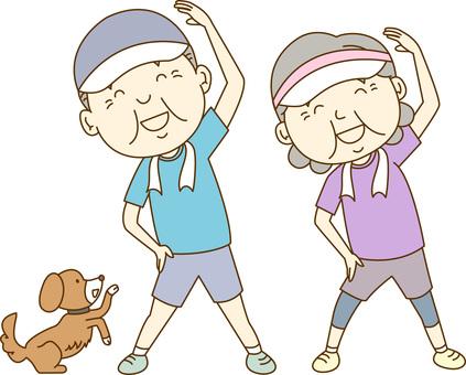 Elderly couple / radio gymnastics 2
