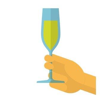 手拿著酒杯