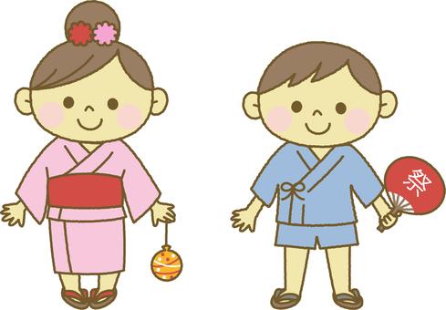 A child wearing a yukata
