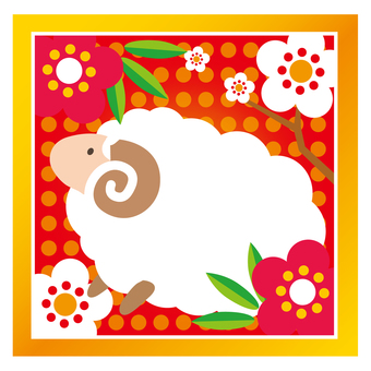 A new spring image of sheep and plum
